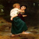 William Bouguereau (1825-1905)   Le Passage du gué [The Crossing of the Ford]  Oil on canvas  Private collection